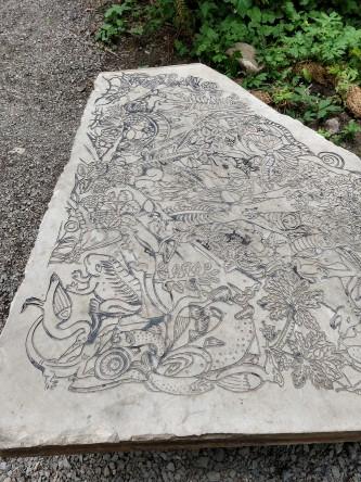 Artful stone slab
