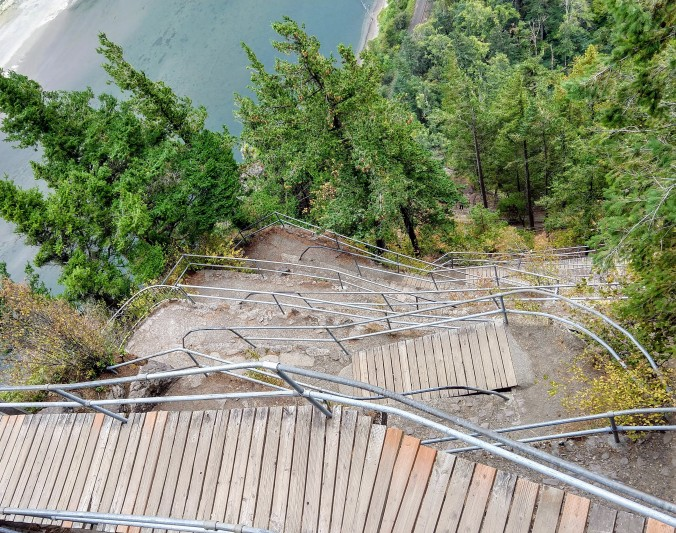 Down Henry Biddle's catwalk on Beacon Rock