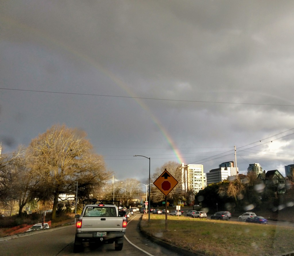 rainbow over the highway