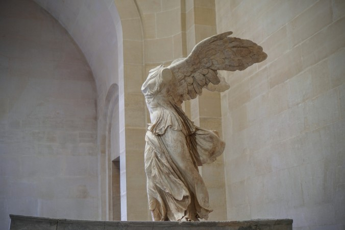 The Winged Victory of Samothrace, a marble Hellenistic sculpture of Nike (the Greek goddess of victory), created around the 2nd century BC.