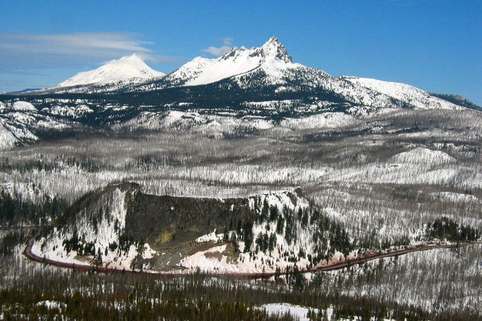 Santiam Pass with Three Fingered Jack and Mt. Jefferson by Shaun Che