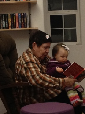 GG and Rosa, a shared love of books and barrettes, 2012
