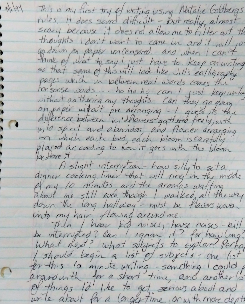 Writing using Natalie Goldberg's writing rules.